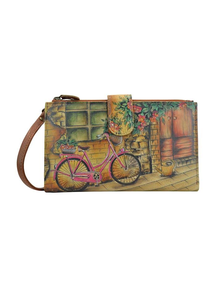 ANUSCHKA Brieftasche Vintage Bike (handbemaltes Leder), mehrfarbig