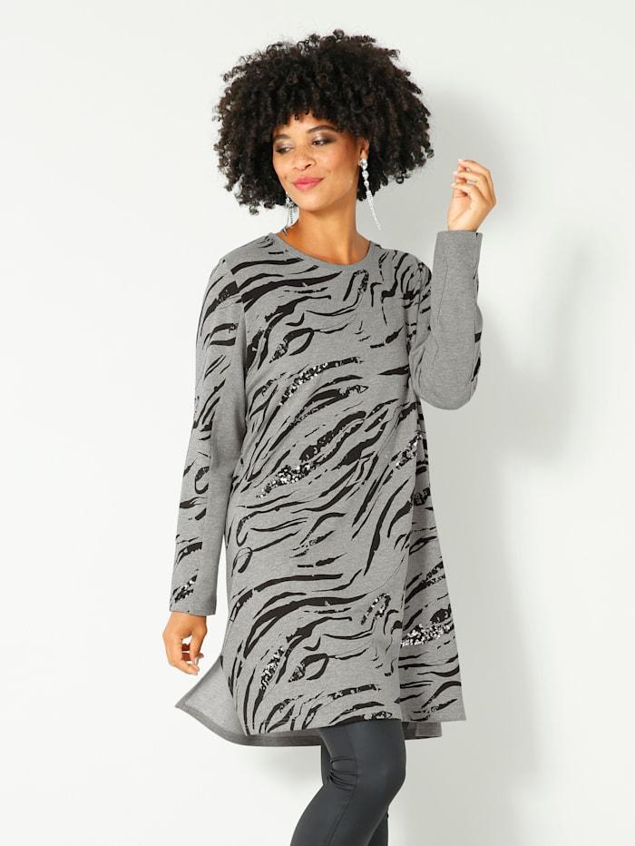 Angel of Style Sweatshirt met pailletten voor, Lichtgrijs/Zwart