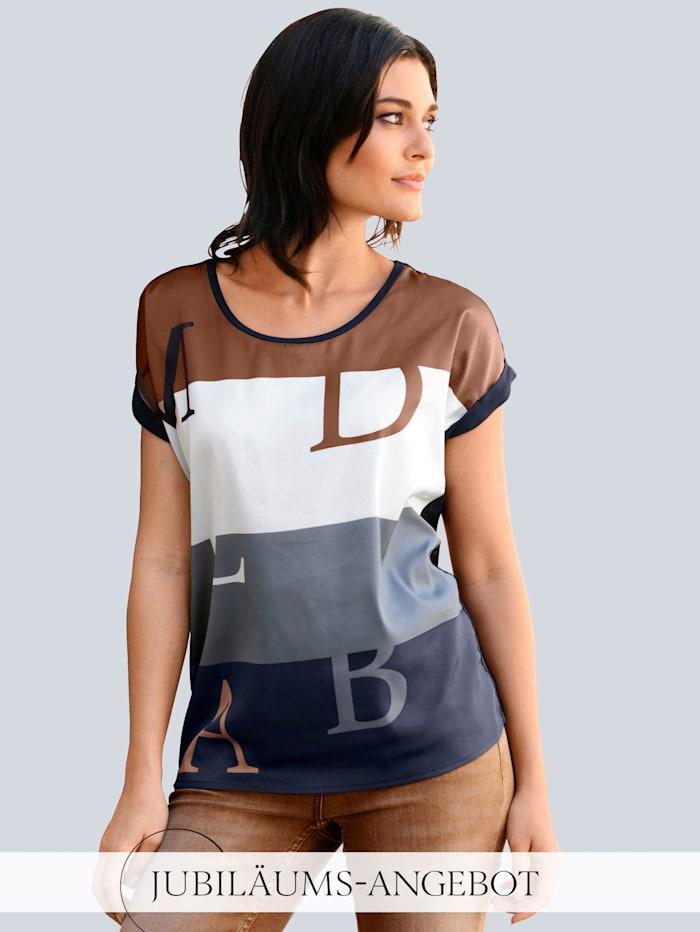 Alba Moda Shirt im Materialmix, Marineblau/Cognac/Weiß