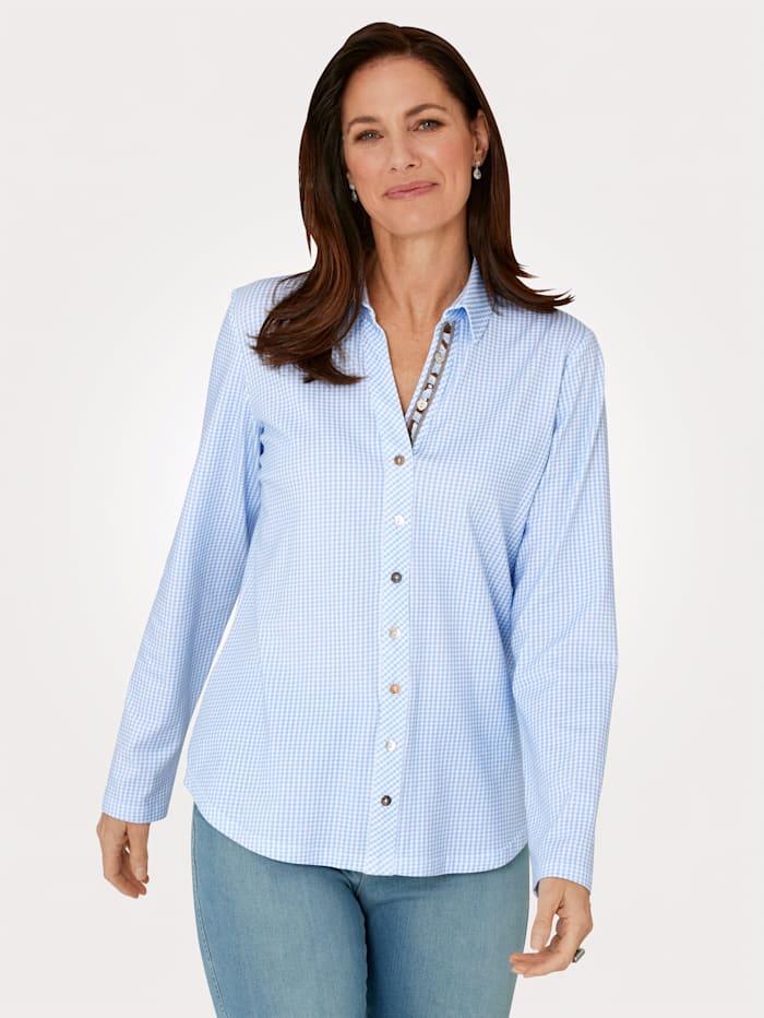 justWhite Jersey blouse, Lichtblauw/Wit