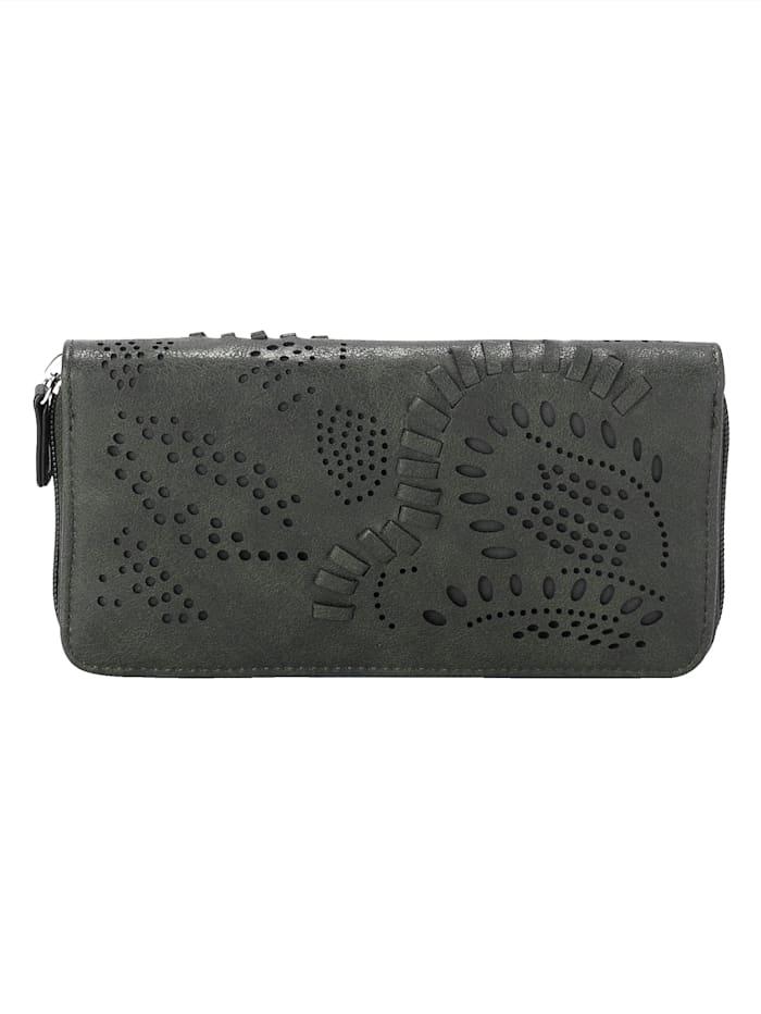 Taschenherz Geldbörse mit floraler Perforation, Dunkelgrün