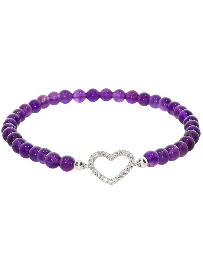 1001 Diamonds Herz Amethyst Armband 925 Silber 17 cm, violett