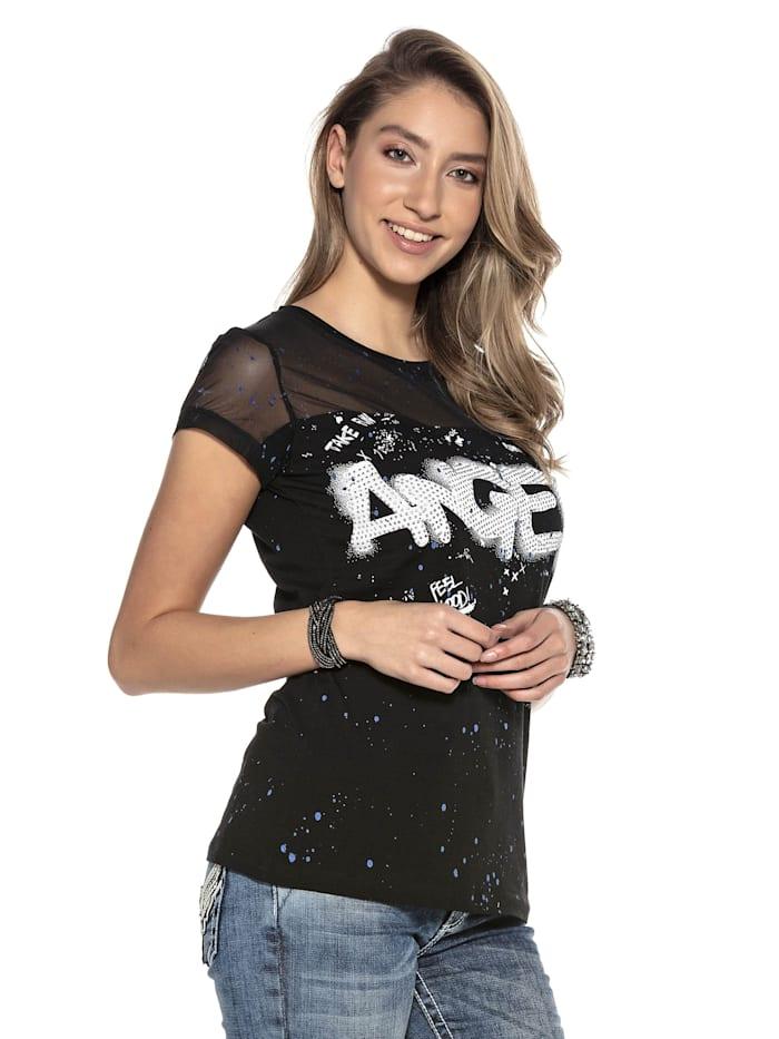 T-Shirt mit Netzstoff und Pailletten