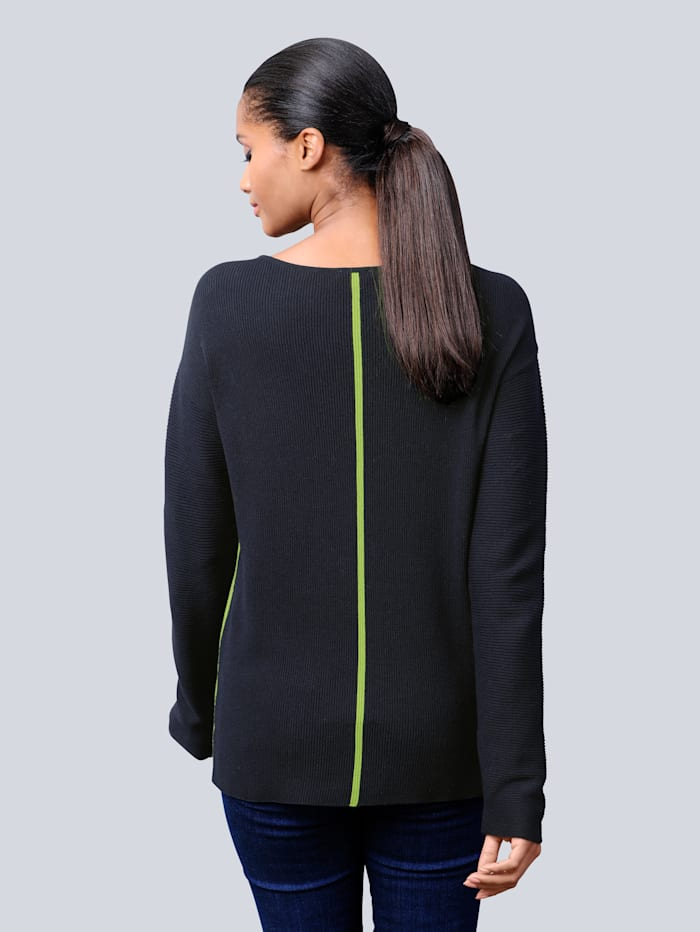 Pullover mit kontrastfarbigen Blockstreifen
