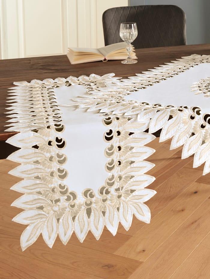 """Webschatz Linge de table """"Marina"""", Blanc/or"""