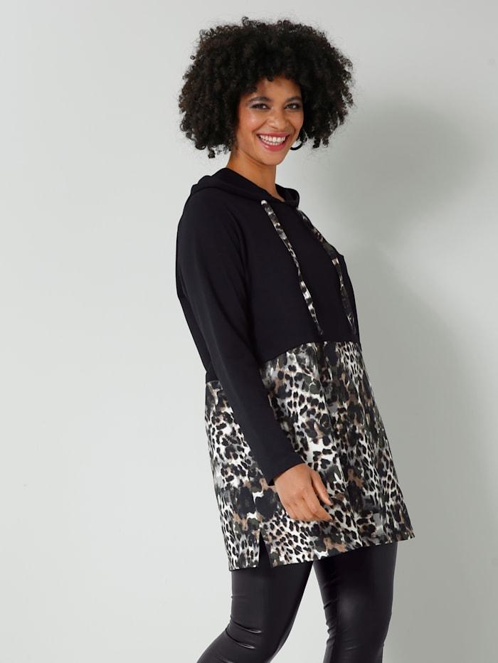 Angel of Style Sweatshirt gepatcht mit Animal-Dessin, Schwarz/Off-white/Khaki