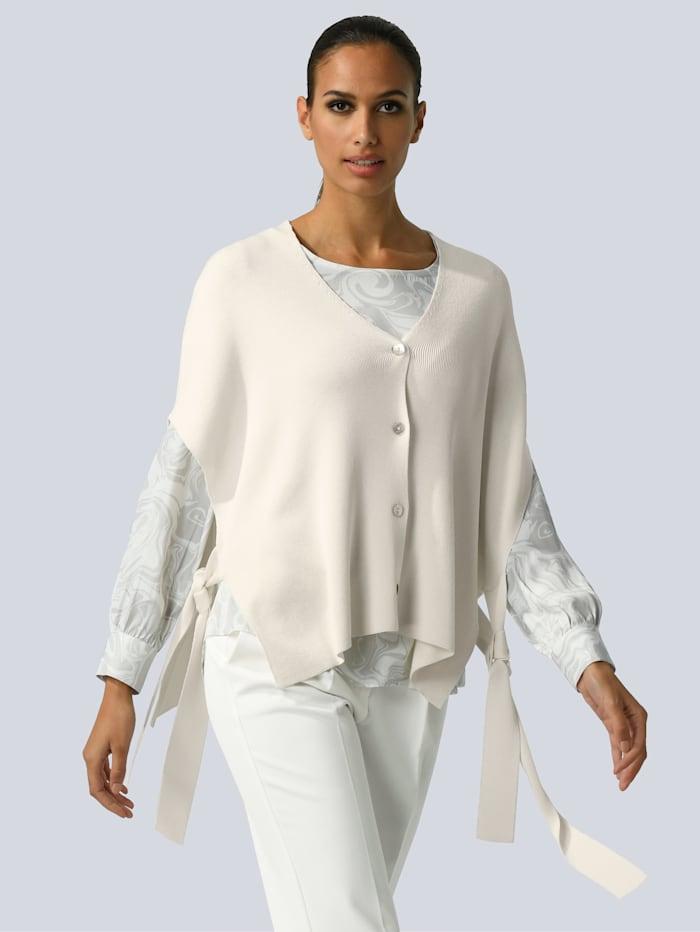 Alba Moda Veste en maille style cape, Blanc cassé