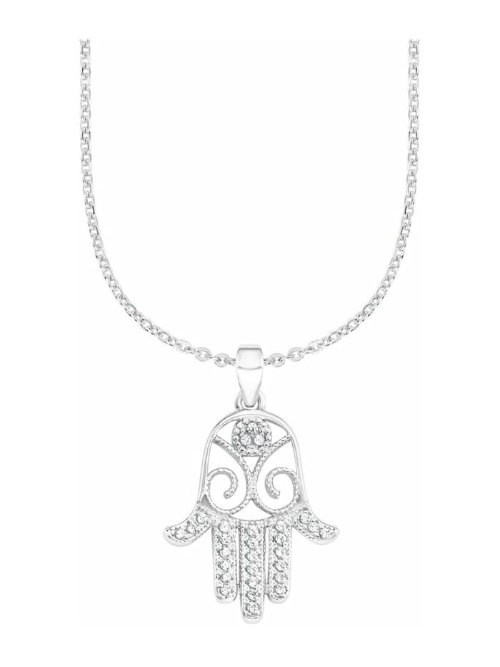 amor Kette mit Anhänger für Damen, Sterling Silber 925, Zirkonia Hamsa Hand, Silber