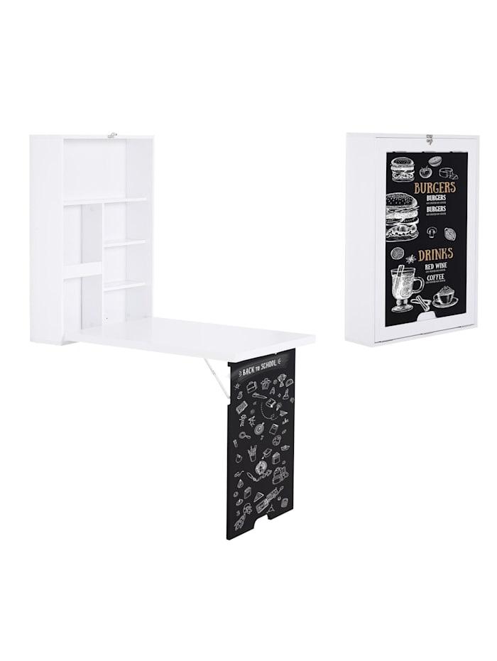 HOMCOM Klappschreibtisch mit Tafel, weiß, schwarz