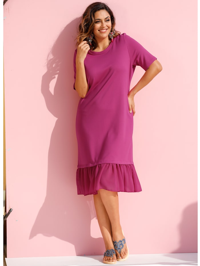 MIAMODA Kleid mit Chiffon am Saum, Pink