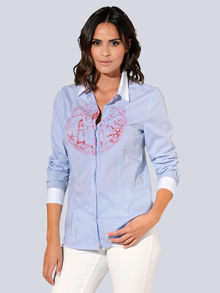 Alba Moda Bluse mit exklusivem Druck-Dessin, Blau/Weiß/Rot