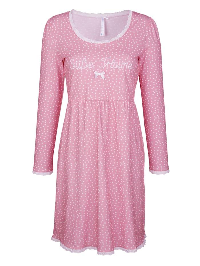 Louis & Louisa Nachthemd met modieus stippendessin en kant, Roze/Wit