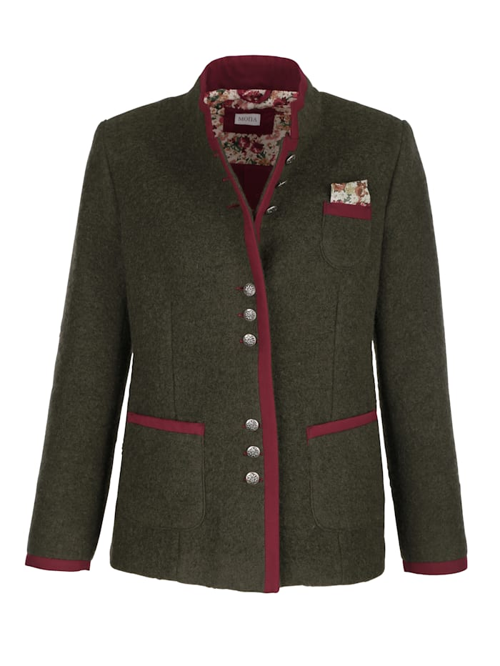Wool-blend blazer with patch pockets