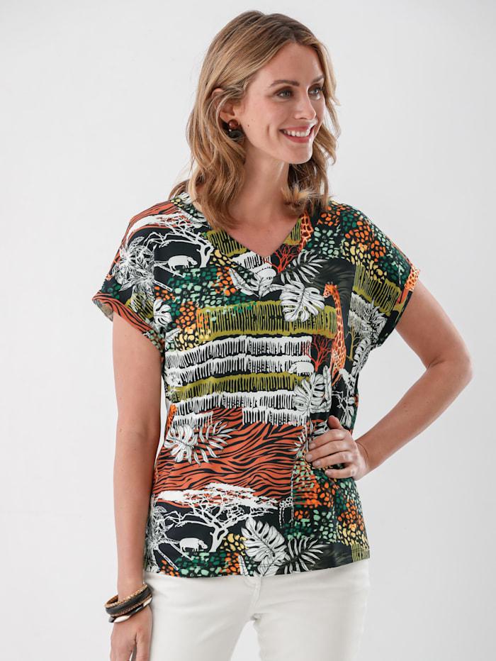 MONA Shirt mit Druck im Safari-Stil, Schwarz/Terracotta/Weiß