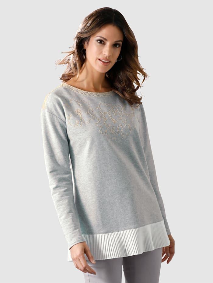 AMY VERMONT Sweatshirt mit Stickerei und Plisseesaum, Grau/Off-white