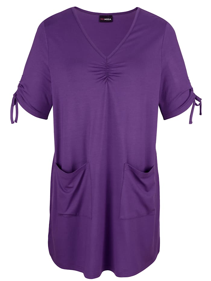 MIAMODA T-shirt long à encolure en V allongeante, Lilas