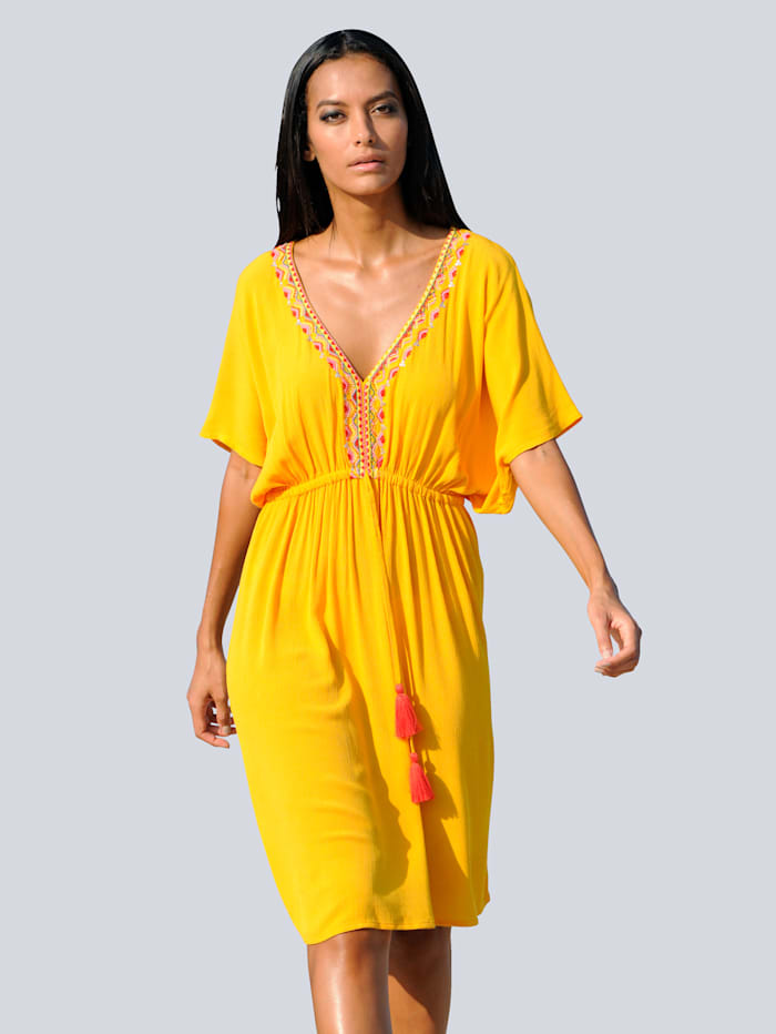 Alba Moda Tunikakleid mit Stickerei, Gelb