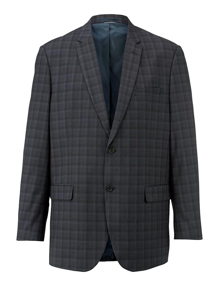 Men Plus Veste de costume avec col tailleur, Noir/Gris