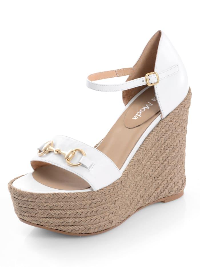 Alba Moda Sandalette mit dekorativer Spange, Weiß