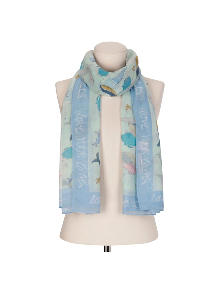 """Take Care Schal """"Whale Love"""" aus recyceltem Polyester"""