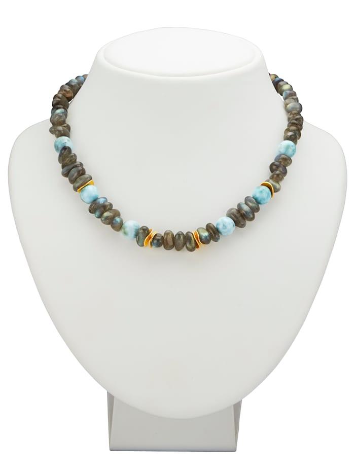 Halskette mit Labradorit und Larimar, Grau