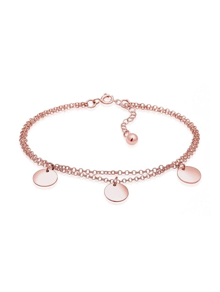 Elli Armband Kreis Layer Geo Plättchen 925 Sterling Silber, Rosegold