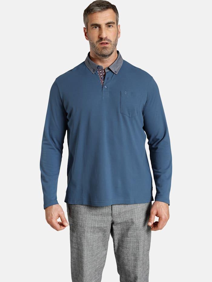 Charles Colby Charles Colby Langarm-Poloshirt DUKE BRENNAN, blau