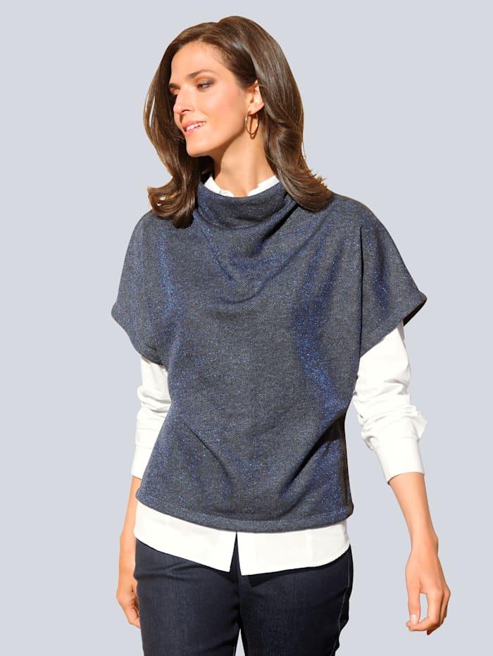 Alba Moda Sweatshirt mit weich fallender Kragenlösung, Blau