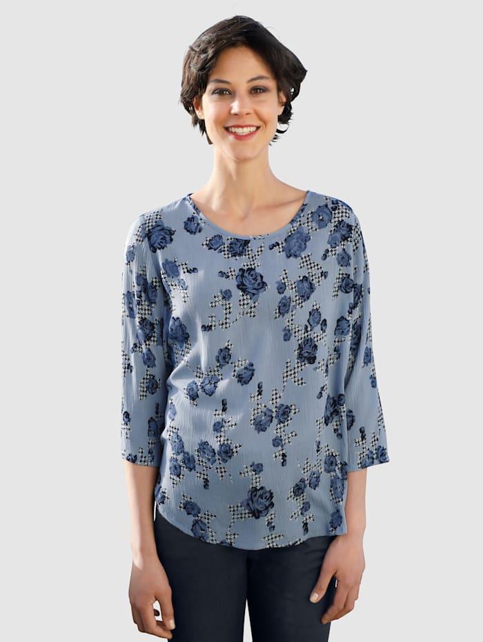 Dress In Bluse mit Blumenprint, Hellblau