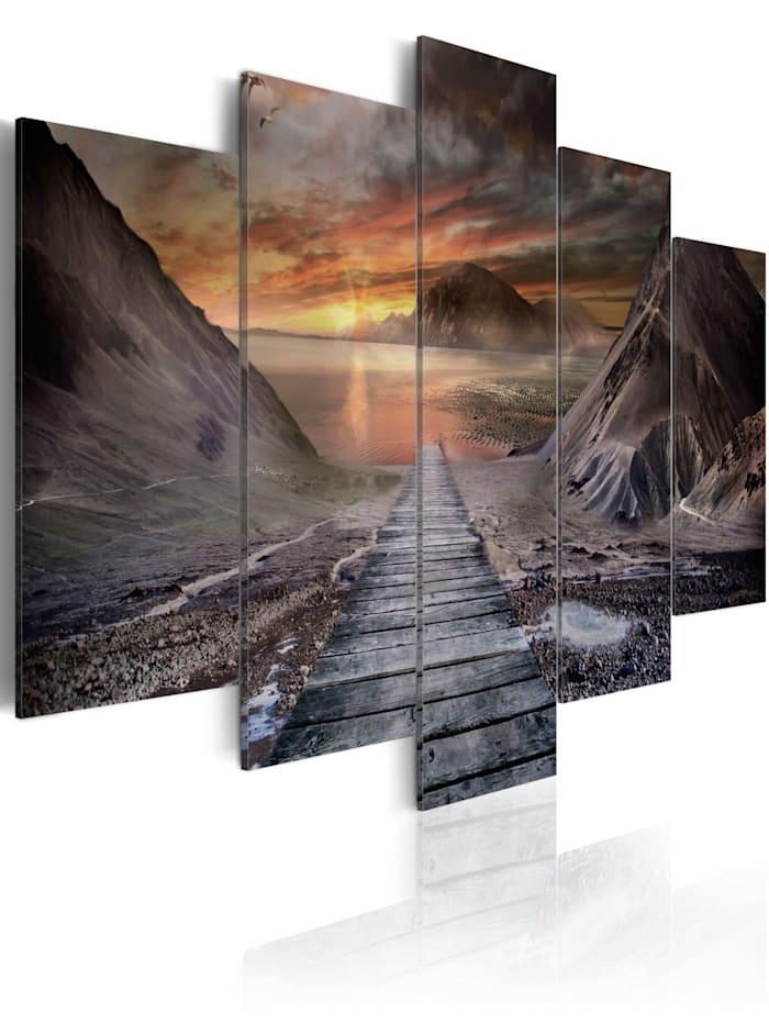 artgeist Wandbild Verlassenes Land II, Orange,Grau,Braun