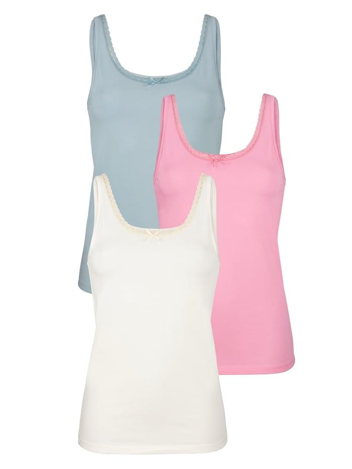 Blue Moon Hemdje met elastisch kant aan de hals, Roze/Ecru/Lichtblauw