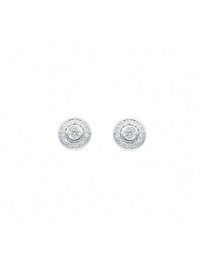 1001 Diamonds 1001 Diamonds Damen Goldschmuck 585 Weißgold Ohrringe / Ohrstecker mit Zirkonia Ø 7,1 mm, silber