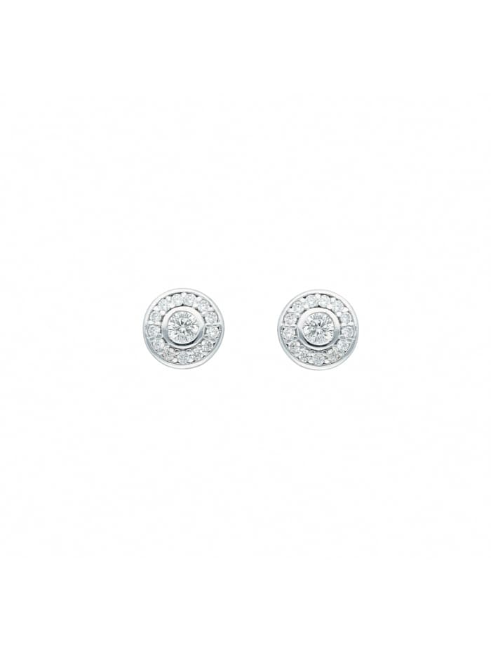 1001 Diamonds Damen Goldschmuck 585 Weißgold Ohrringe / Ohrstecker mit Zirkonia Ø 7,1 mm, silber