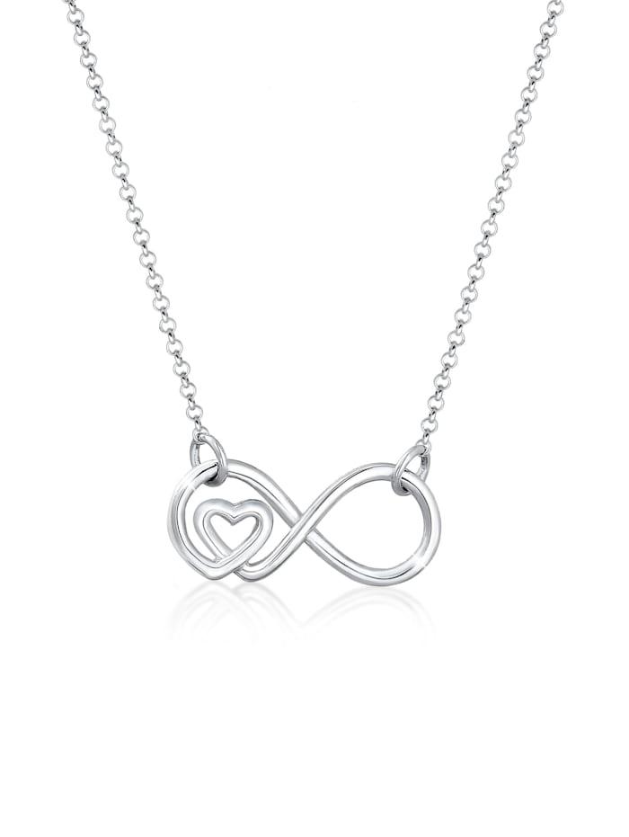 Elli Halskette Infinity Unendlichkeit Herz Liebe 925Er Silber, Silber