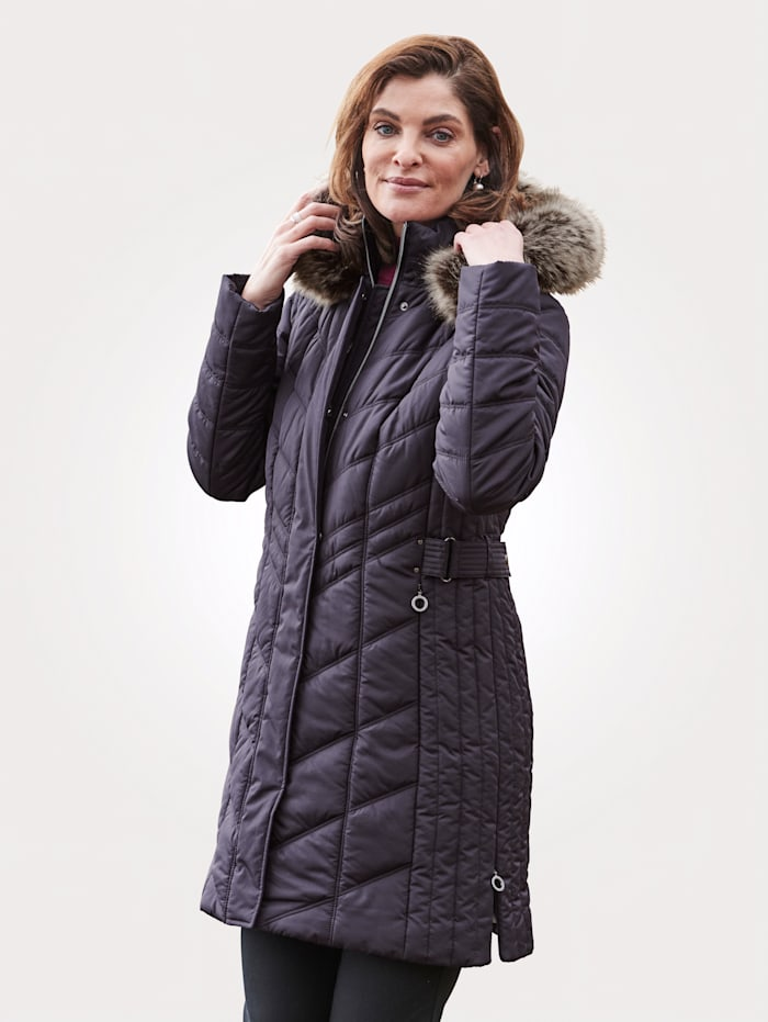 MONA Jacke mit weitenverstellbarer Kapuze, Dunkellila