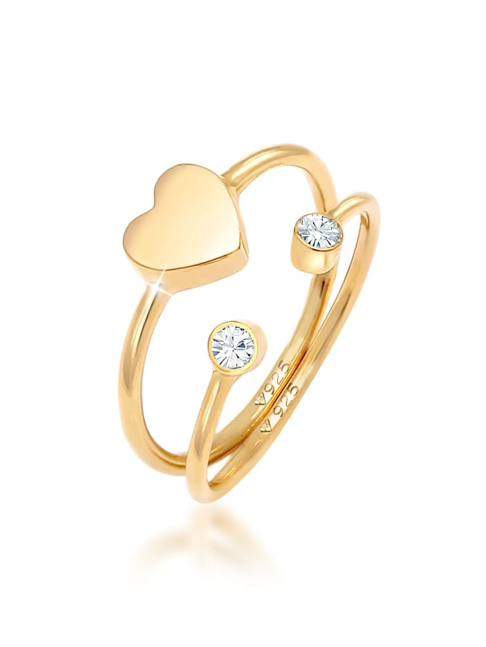 Elli Ring Herz Kristall Stabelring Set 925 Silber, Gold