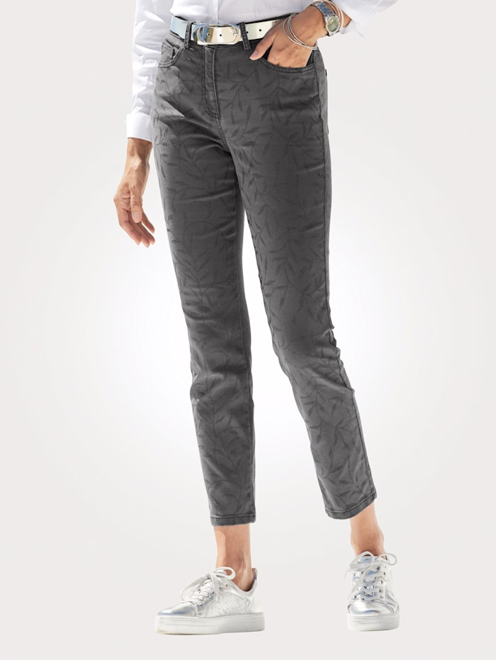 MONA Jeans with faux pearl detailing, Anthracite