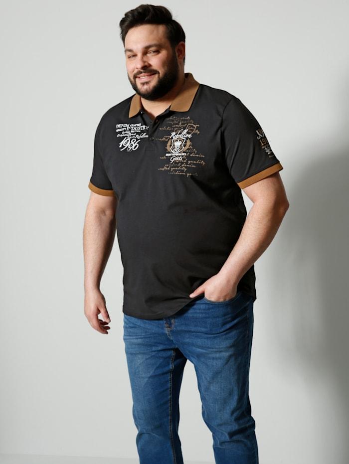 Men Plus Poloshirt van zuiver katoen, Zwart/Wit/Cognac