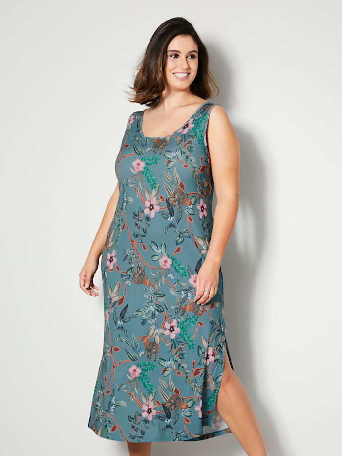 Sara Lindholm Jerseykleid mit hohen Seitenschlitzen, Salbeigrün/Pink