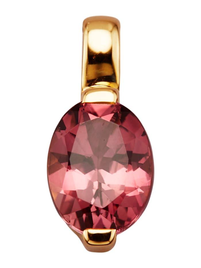 Diemer Farbstein Anhänger in Gelbgold 585, Pink