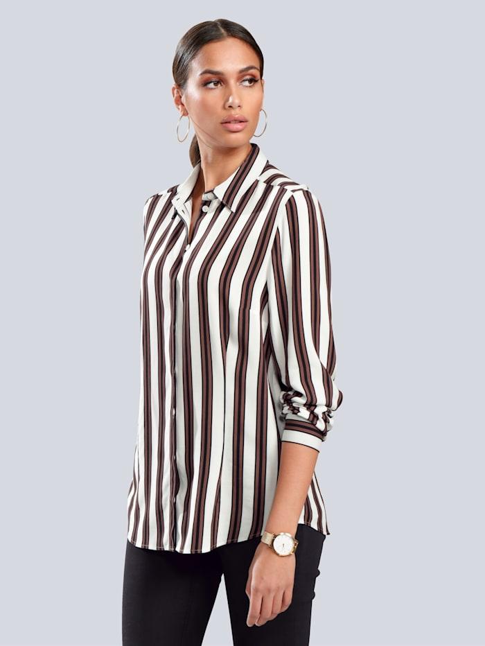 Alba Moda Bluse mit modischem Streifendessin, Off-white/Braun/Schwarz