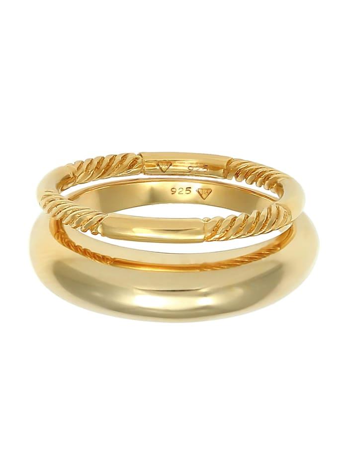 Ring Bandring Gedreht Basic 2Er Set 925 Silber
