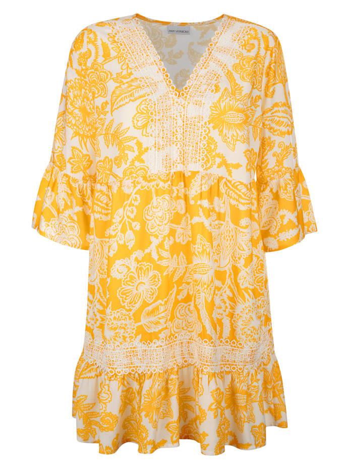 AMY VERMONT Tunika mit Spitzenverzierung, Gelb/Weiß