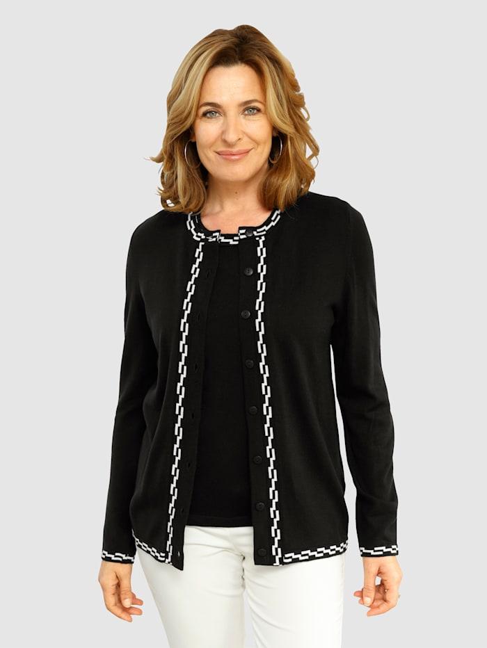 Paola Twinset mit kontrastfarbenem Strickmuster, Schwarz/Weiß
