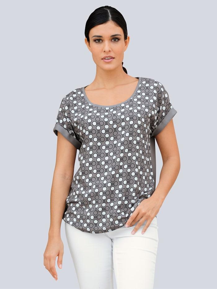Alba Moda Shirt im Punte-Dessin, Taupe/Blau/Weiß