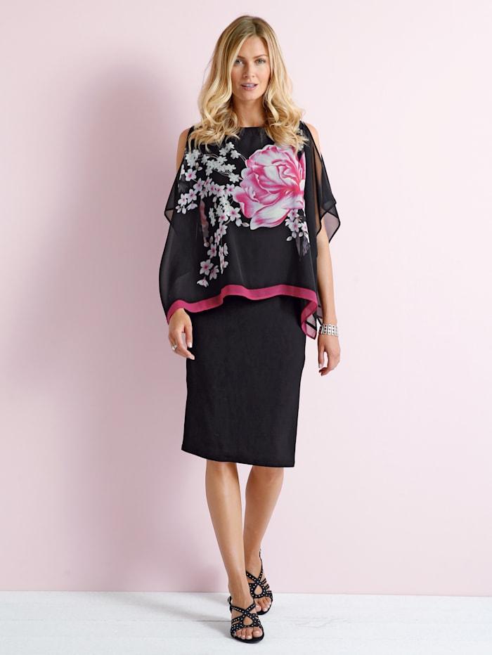 Paola 2-in-1-Kleid mit Blütendruck, Schwarz