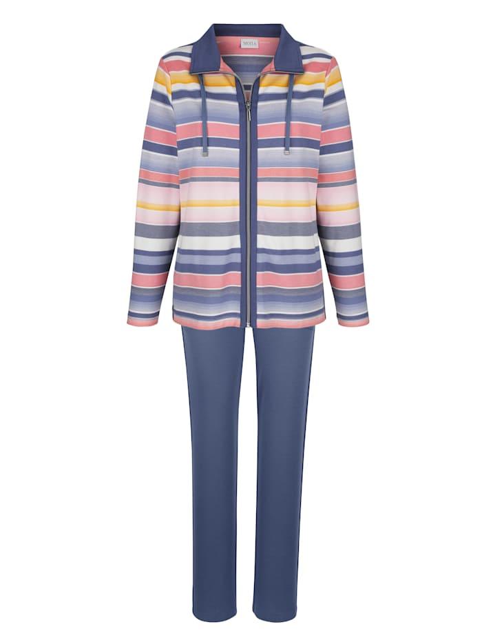 MONA Freizeitanzug mit hübscher Jacke in garngefärbtem Ringeldessin, Blau/Lachs/Ecru