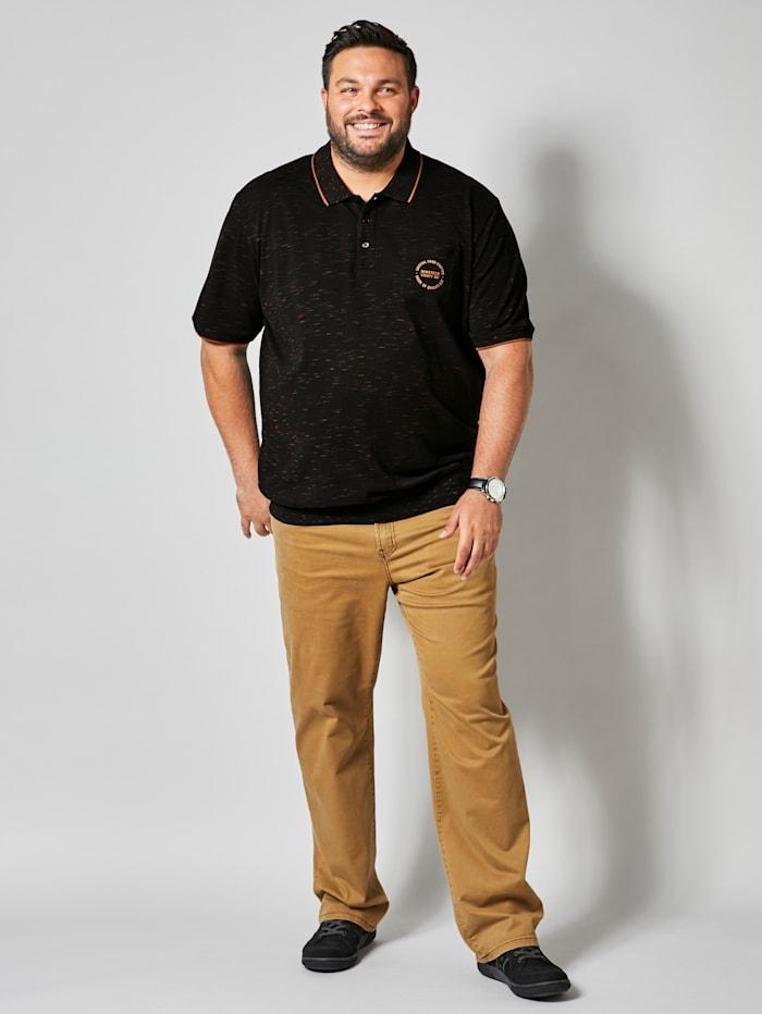 Men Plus Poloshirt met gladgebreide kraag, Zwart/Cognac