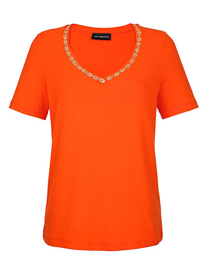 Shirt met versiering bij de hals