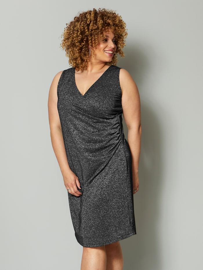 Angel of Style Jerseykleid mit Glanzgarn, Silberfarben